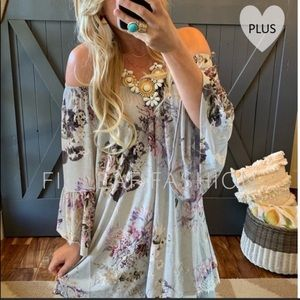 Tops - Off the Shoulder Floral Tunic Blouse